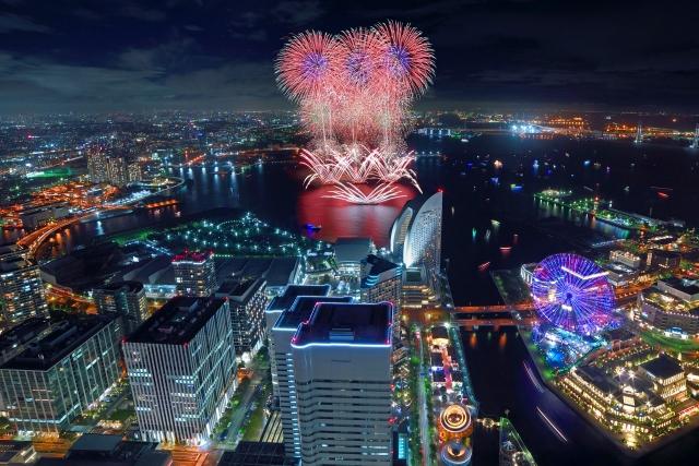 横浜ランドマークタワーから望むみなとみらいスマートフェスティバル